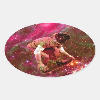 Astronaugt Skateborder Oval Sticker