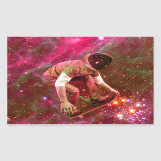 Astronaugt Skateborder Rectangular Sticker