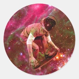 Astronaugt Skateborder Round Sticker