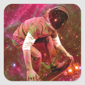 Astronaugt Skateborder Square Sticker