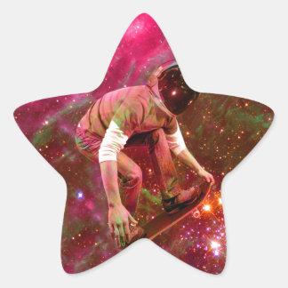 Astronaugt Skateborder Star Sticker