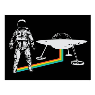 Astronaut Alien Spacecraft Rainbow Postcard