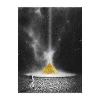 Astronaut and Golden Pyramid Canvas Print