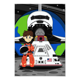"Astronaut and Space Shuttle RSVP Card 3.5"" X 5"" Invitation Card"