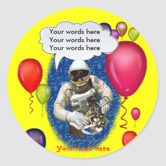Astronaut Birthday Theme Party Classic Round Sticker