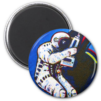Astronaut, Blue Background Magnets
