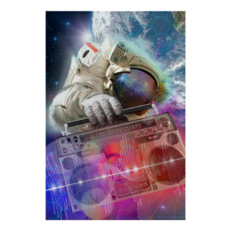 Astronaut Boombox Poster