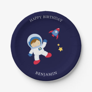 Astronaut Boy Kids Birthday Paper Plate