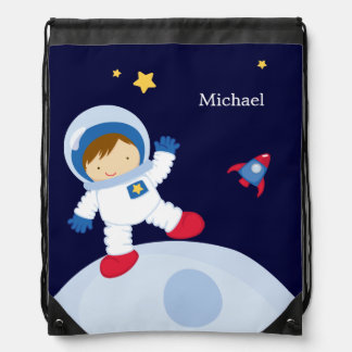 Astronaut Boy Kid's Personalized Drawstring Bag
