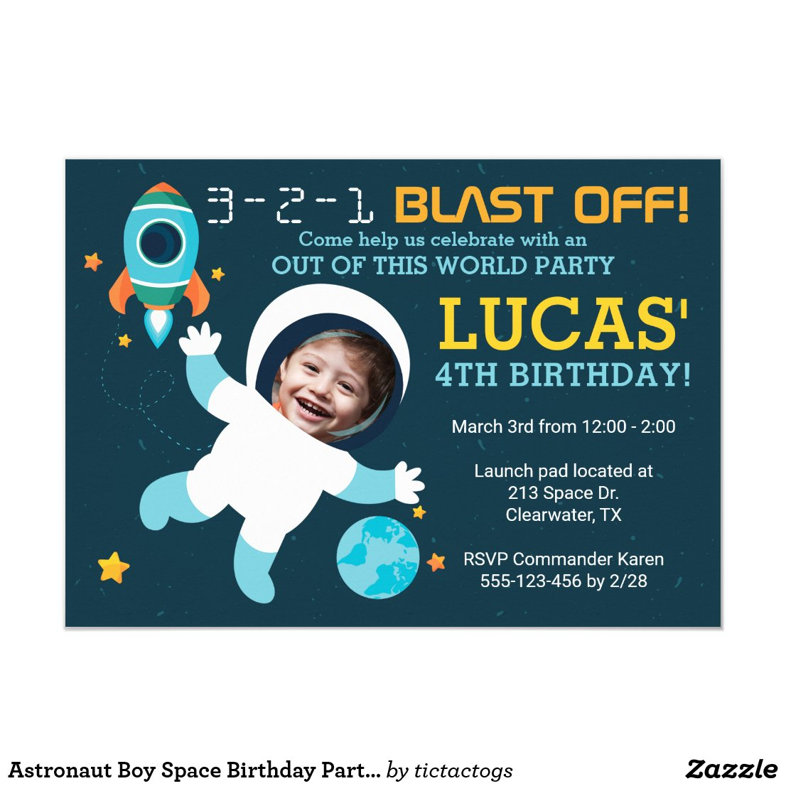 Astronaut Boy Space Birthday Party Invitation