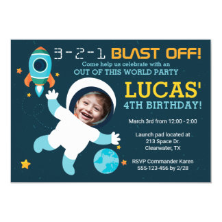 Astronaut Boy Space Birthday Party Invitation