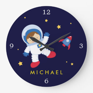 Astronaut Boy Space Themed Large Clock