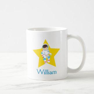 Astronaut Boy Yellow Star Brown Hair Mug