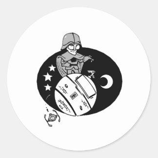 Astronaut Caricature Round Sticker