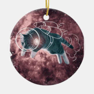 Astronaut Cat Kitten Funny Cosmos Christmas Ornament