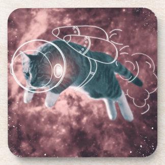 Astronaut Cat Kitten Funny Cosmos Drink Coasters