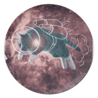 Astronaut Cat Kitten Funny Cosmos Plate