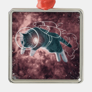 Astronaut Cat Kitten Funny Cosmos Silver-Colored Square Decoration