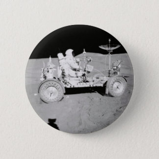 Astronaut driving Lunar Lander on the Moon 6 Cm Round Badge