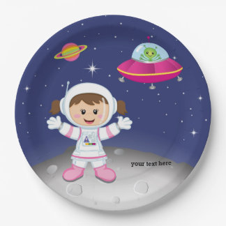 Astronaut girl 9 inch paper plate