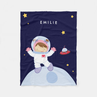 Astronaut Girl {brunette} Fleece Blanket