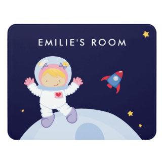 Astronaut Girl Door Sign