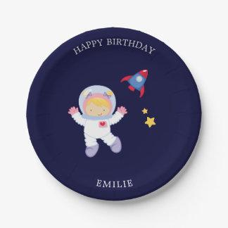 Astronaut Girl Kids Birthday 7 Inch Paper Plate