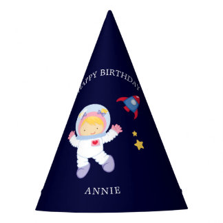 Astronaut Girl Kids Birthday Party Hat