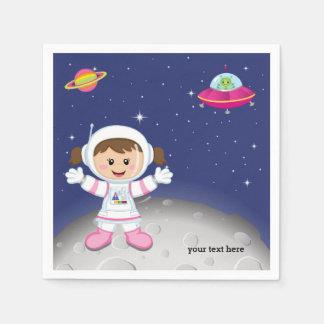 Astronaut girl paper napkin