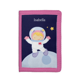 Astronaut Girl Tri-fold Wallets