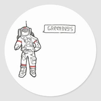 "Astronaut ""Greetings"" Greetings Card Classic Round Sticker"