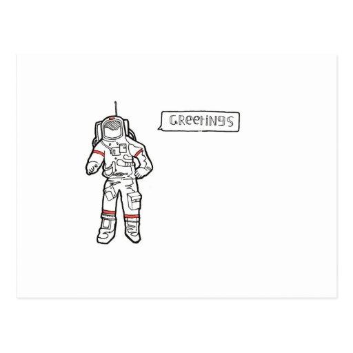"Astronaut ""Greetings"" Greetings Card Postcards"