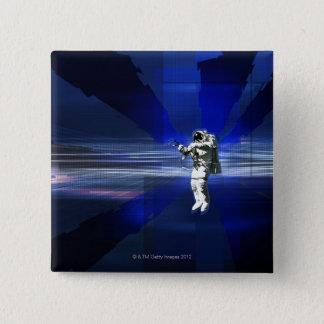 Astronaut in Space 15 Cm Square Badge
