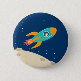Astronaut kid birthday party 6 cm round badge
