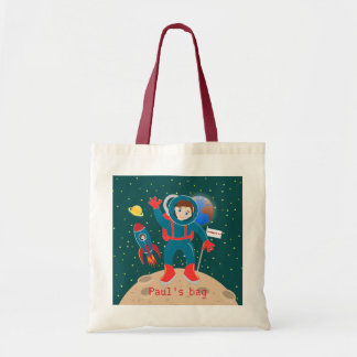 Astronaut kid birthday party budget tote bag