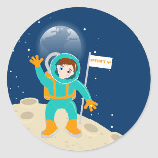 Astronaut kid birthday party classic round sticker