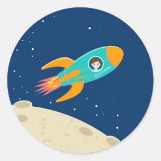 Astronaut kid birthday party classic round sticker