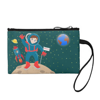 Astronaut kid birthday party coin wallets