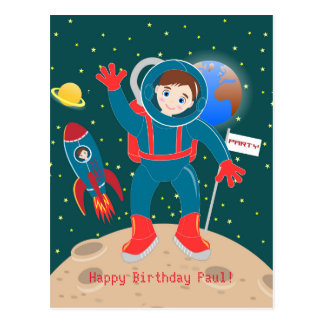 Astronaut kid birthday party postcard