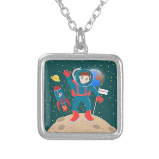 Astronaut kid birthday party square pendant necklace