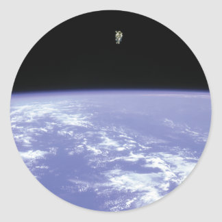 Astronaut McCandless Free Flying with Jetpack Round Sticker