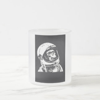 Astronaut Monkey Frosted Glass Coffee Mug