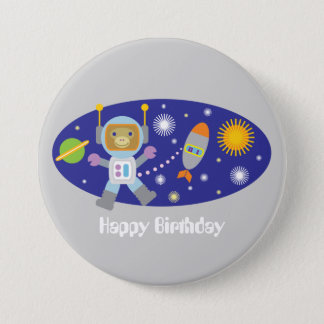 Astronaut Monkey Space Chimp Happy Birthday Party 7.5 Cm Round Badge