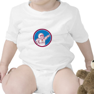 Astronaut Pointing Front Circle Cartoon Rompers