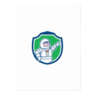 Astronaut Pointing Front Shield Cartoon Post Card