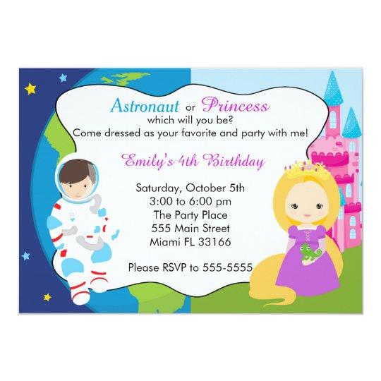 Astronaut Princess Kids Birthday Invitation