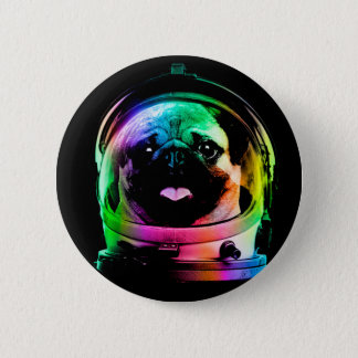 Astronaut pug - galaxy pug - pug space - pug art 6 cm round badge