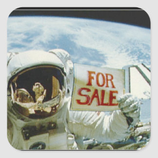 Astronaut Sells Earth Square Sticker