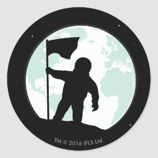 Astronaut Silhouette Classic Round Sticker