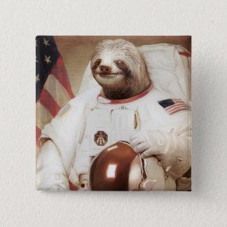 Astronaut Sloth 15 Cm Square Badge